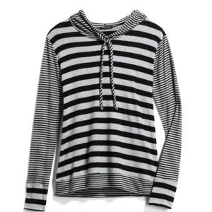 Pink Clover - XS Black and Grey Strip Hoodie